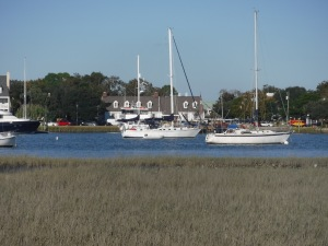 Standing on the island with the wild horse herds, looking at Alembic and the sweet village on the other shore.  I love Beaufort!
