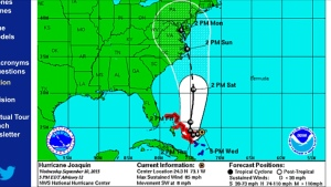 Track showed Joaquin's eye going right over us