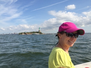 Anchored right beside the Statue of Liberty!