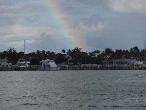 Spectacular rainbows welcomed us in Marsh Harbor.  I didn't have my camera when they were at their best show