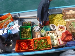 Veggie boats are the highlights of cruisers' days.  With no shops ashore, we count on these boats for anything