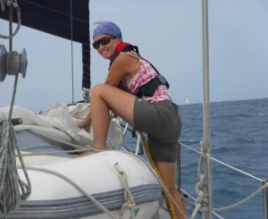 Raising the inner jib means climbing around the dinghy.  Easy when the seas are light.