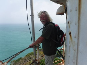 Dan, holding on, as the lighthouse shuttered in the gusts