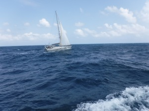 Our French friends, Michel and Brigette, sail by on Malika
