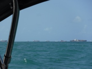 As we sailed toward Shelter Bay Marina, the harbor was lined with ships ready to transit the Canal
