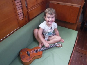 Trying out the ukelele