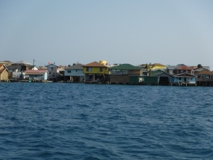 Tiny village with most homes built on stilts.  We checked in through Customs here.
