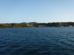 Looking from our anchor spot to the marina where some rally members tied up and filled it to capacity.