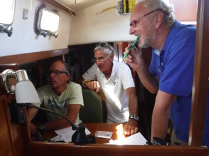Bill, James, and Pierre figuring out  our VHF  stealthy communications
