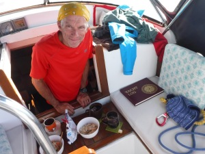Mothers' Day breakfast.  See all the clothing and gear I've used in the overnight sail?