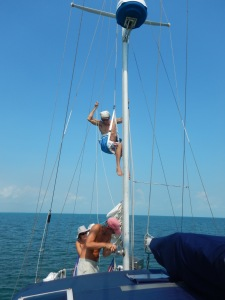 It's handy having guests who will help with the maintenance of a cruising boat