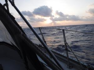 Sunrise as we head north off the coast of Mexico