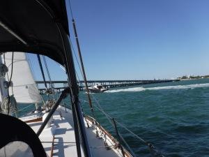 Slaloming speed boats threw many dangerous wakes as we headed through the bridge