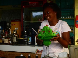 This beach bar felt like Spring Break.  No, we did not order this ridiculous drink!