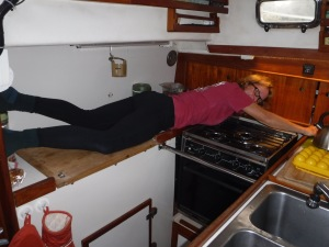 Cleaning around a galley stove is challenging!