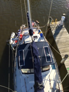 Bill went up the mast in Annapolis when our courtesy flags started coming untied
