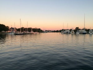Anchoring at Solomons at sunset