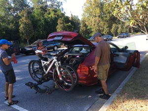 Cramming four people and four bikes onto and into Tracy's Audi