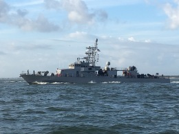 A frigate welcomed us to Jax