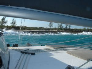 Another boat's view was the same as ours: close to the beach with breaking seas